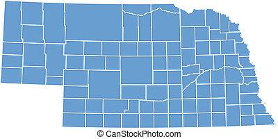 mapa, vetorial, nebraska