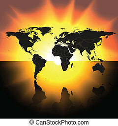 mapa, vetorial, pôr do sol, fundo, mundo