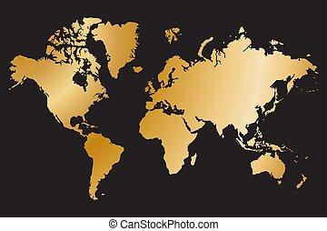 mapa, vetorial, político, isolado, ilustração, fundo, pretas, mundo