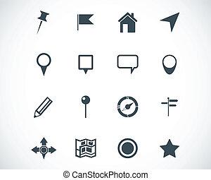 mapa, vetorial, pretas, jogo, ícones