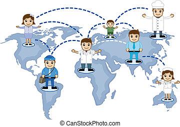 mapa, vetorial, rede, mundo, pessoas