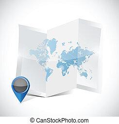 mapa, viagem, ilustração, arranjos, desenho, mundo