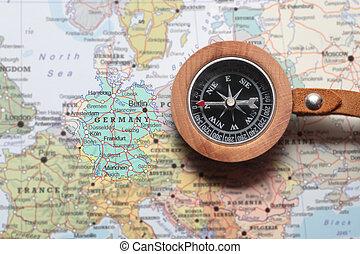 mapa, viaje destino, alemanha, compasso
