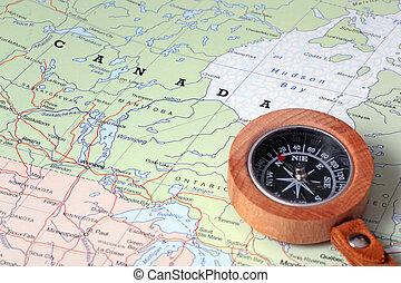 mapa, viaje destino, canadá, compasso