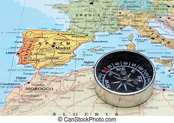 mapa, viaje destino, espanha, compasso