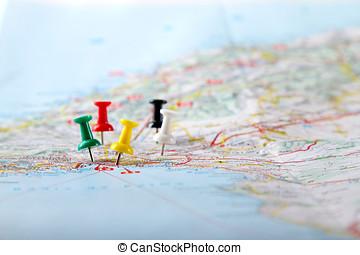 mapa, viaje destino, pontos