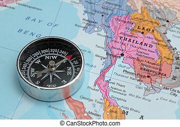 mapa, viaje destino, tailandia, compasso