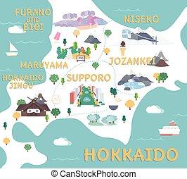 mapa, viaje, hokkaido, illustration., plano