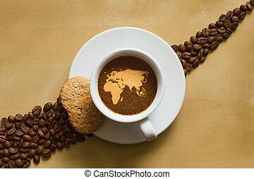 mapa, vida, afro-eurasia, -, café, ainda
