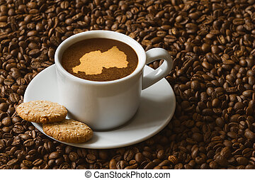 mapa, vida, -, café, ruanda, ainda