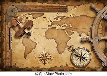 mapa, vida, viejo, viaje, tema, aventura, exploración, ...