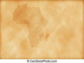 mapa, viejo, áfrica
