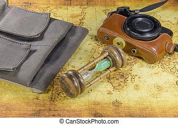 mapa, viejo, bolsillo, bolsa, cámara, mundo, reloj de arena