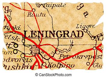 mapa, viejo, leningrado