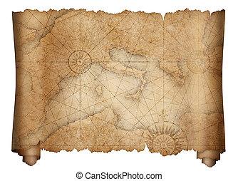 mapa, viejo, medieval, mediterráneo, aislado, rúbrica