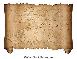 mapa, viejo, piratas, tesoro, aislado, blanco, rúbrica