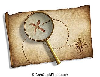 mapa, viejo, pirates', tesoro, aislado, vidrio, aumentar