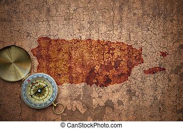 mapa, viejo, vendimia, rico, papel, grieta, puerto