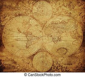 mapa, vindima, 1675-1710, mundo, circa