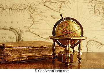 mapa, vindima, globo, contra, wall., livro