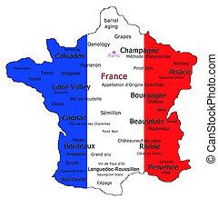 mapa, vino francés