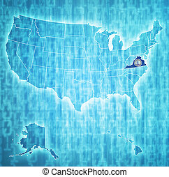 mapa, virgínia, eua