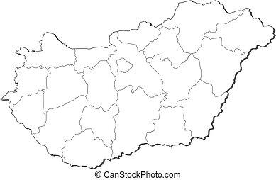 mapa, węgry