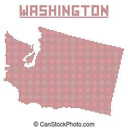 mapa, washington, tečka