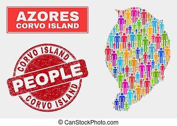 mapa, watermark, corvo, isla, gente, caucho, población