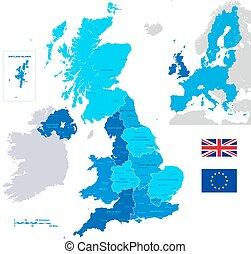 mapa, Wektor, administracyjny,  UK
