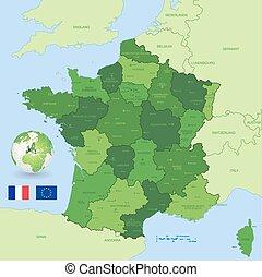mapa, Wektor, administracyjny, zielony, francja