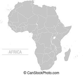 mapa, wektor, afryka szara