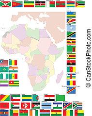mapa, wektor, bandery, ilustracja, afryka.