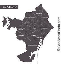 mapa, wektor, barcelona, okręg