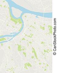 mapa, wektor, barwny, belgrad