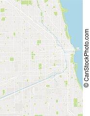 mapa, wektor, barwny, chicago