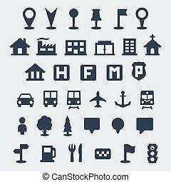 mapa, wektor, komplet, odizolowany, ikony
