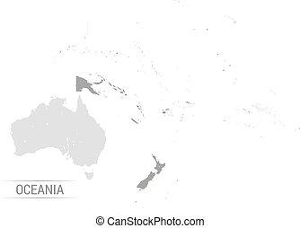 mapa, wektor, oceania, szary