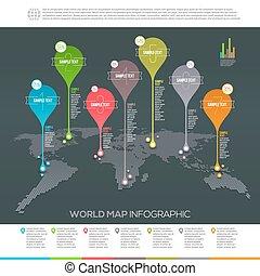 mapa, wektor, wskazówki, -, infographic, projektować, szablon, świat
