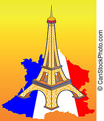 mapa, wieża, eiffel, francja