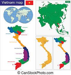 mapa, wietnam