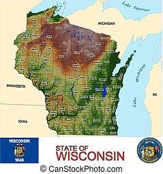 mapa, wisconsin, condados