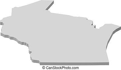 mapa, -, wisconsin, (united, states), -, 3d-illustration