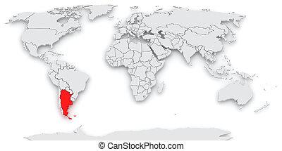 mapa, world., argentines.