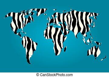 mapa, wypełniony, zebra, świat, próbka