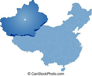mapa, xinjiang, uyghur, región, -, república, gente, china, ...