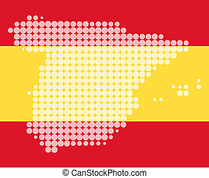 mapa, y, bandera, de, españa