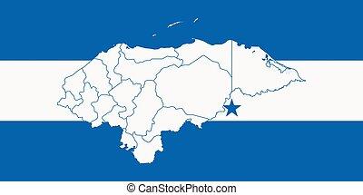 mapa, y, bandera, de, honduras