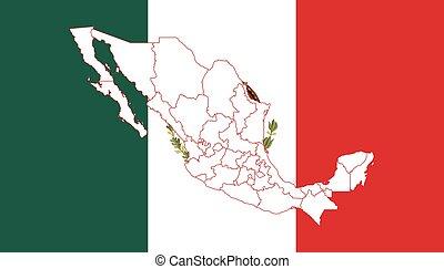 mapa, y, bandera, de, méxico