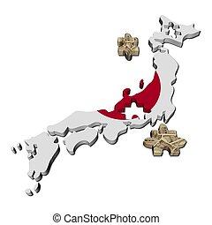 mapa, yen, rompecabezas, ilustración, pedazos, bandera, japón